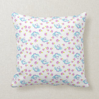 Blue Teapot Pink Rose Flower Art Drawing Pillow