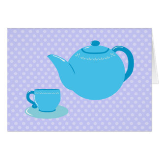 Blue Teapot Tea Party Thank You Cards Note Card
