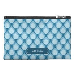 Blue Teardrop Pattern Monogram Accessory Bag
