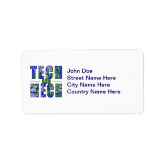 Blue Tech and Mech Address Label