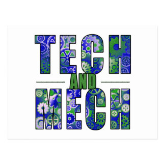 Blue Tech and Mech Postcard