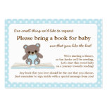 Blue Teddy Baby Shower Book Insert Request Card Large Business Cards (Pack Of 100)