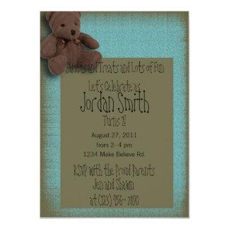 Blue Teddy Bear 1st Birthday Party Invitation