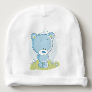 blue teddy bear baby beanie