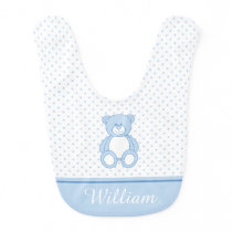 Blue Teddy Bear Baby Bib