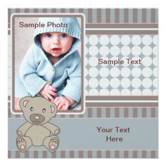 Blue Teddy Bear Baby Invitations
