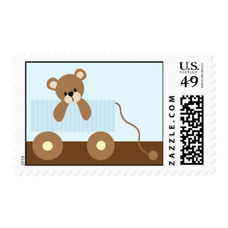 Blue Teddy Bear Baby Shower Postage