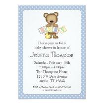 Blue Teddy Bear Blocks Baby Shower Invitations