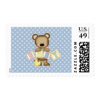 Blue Teddy Bear Blocks Baby Shower
