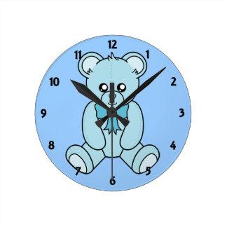 Blue Teddy Bear Childrens Learning Wall Clock
