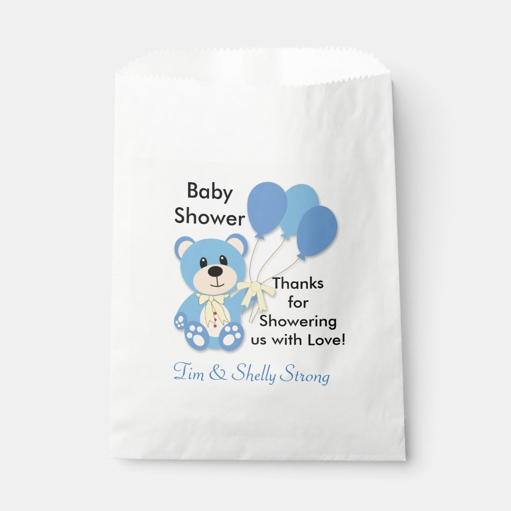 Blue Teddy Bear Favor or Party Bags