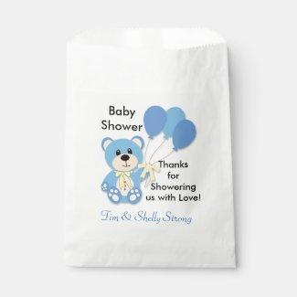 Blue Teddy Bear Favor or Party Bags
