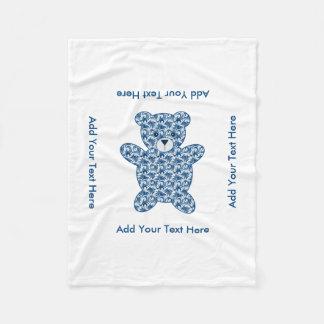 Blue Teddy Bear Fleece Blanket