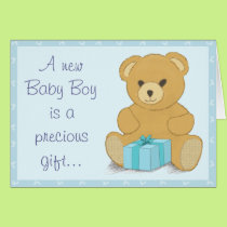 Blue Teddy Bear New Baby Boy Congratulations Card