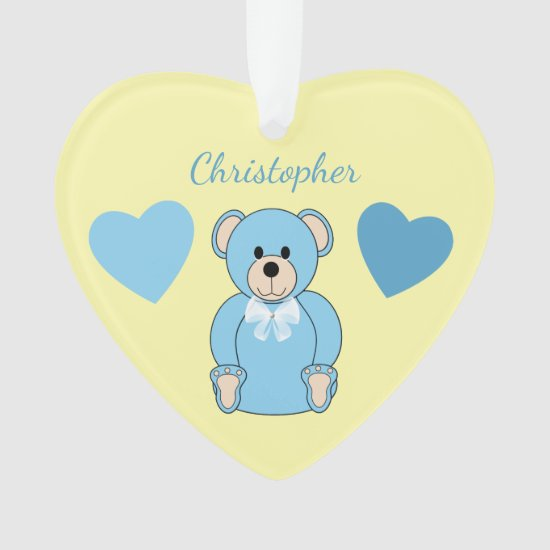 Blue Teddy Bear Nursery Decor Heart Ornament