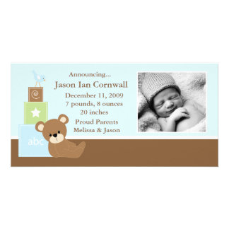 Blue Teddy Bear Photo Birth Announcement