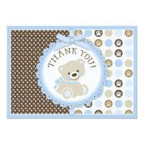 Blue Teddy Bear Polka Dots Thank You Card