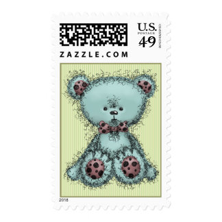 Blue teddy bear postage stamps