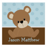 Blue Teddy Bear Print