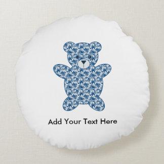 Blue Teddy Bear Round Pillow