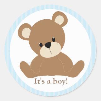 Blue Teddy Bear Classic Round Sticker