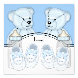 Blue Teddy Bear Twin Boys Baby Shower Card