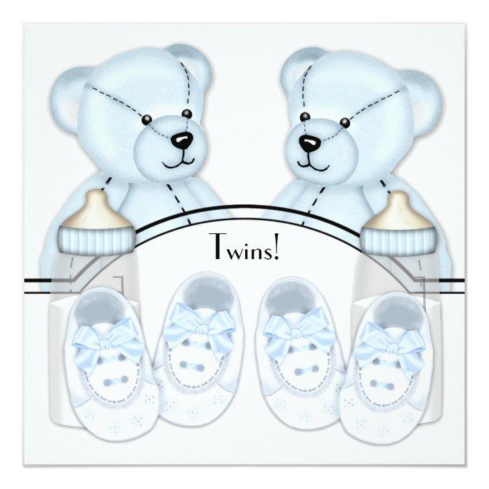 Blue Teddy Bear Twin Boys Baby Shower Invitations Zazzle Com
