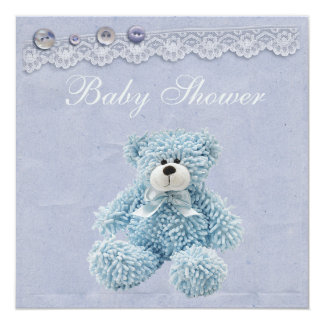 Blue Teddy Bear Vintage Lace Baby Boy Shower Card