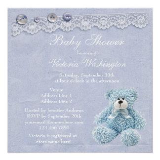 Blue Teddy Bear Vintage Lace Baby Boy Shower Custom Invites