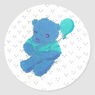 Blue Teddy Bear w/ dotted background stickers