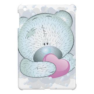 Blue teddy bear with heart iPad mini covers