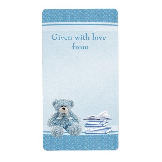 Blue Teddy Bring a Book Baby Shower Bookplates