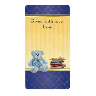 Blue Teddy Bring a Book Baby Shower Bookplates Shipping Label