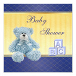 Blue Teddy & Building Blocks Boys Baby Shower Card