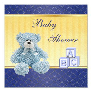 Blue Teddy & Building Blocks Boys Baby Shower Card