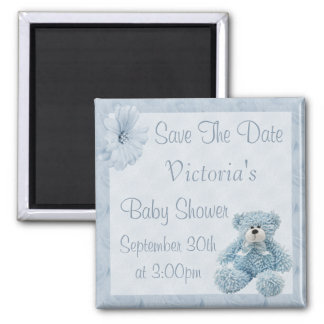 Blue Teddy Save the Date Boy Baby Shower 2 Inch Square Magnet