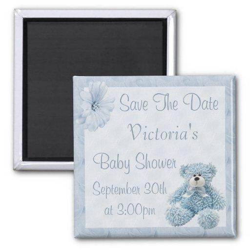 Blue Teddy Save the Date Boy Baby Shower Refrigerator Magnet