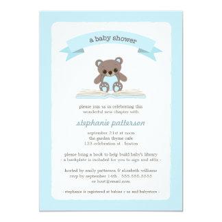 Blue Teddybear Bring a Book Baby Shower Invitation