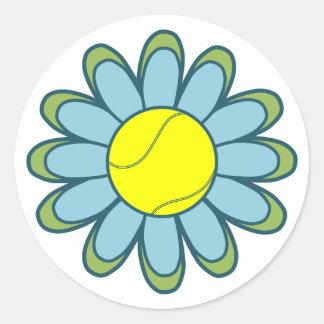 Blue Tennis Girl Classic Round Sticker