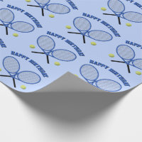 Blue tennis themed custom text any occasion wrapping paper