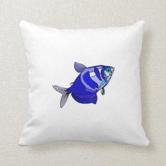 Blue Tetra Fish Throw Pillow