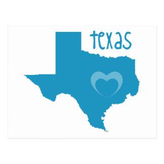 Blue Texas W/ Heart Postcard