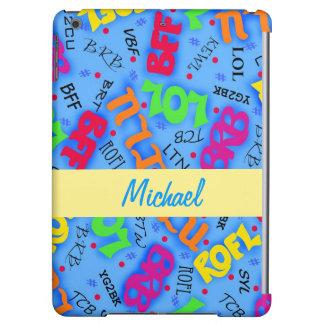 Blue Text Art Symbols Abbreviations Custom iPad Air Cases