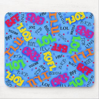 Blue Text Art Symbols Abbreviations Custom Mouse Pad