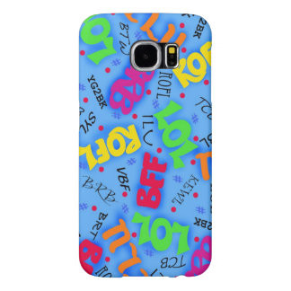 Blue Text Art Symbols Abbreviations Custom Samsung Galaxy S6 Case