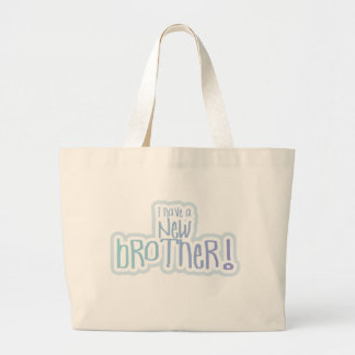 Blue Text I Have a New Brother Canvas Bags