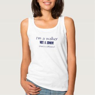 Blue text: I'm a walker, not a zombie. Tank Top