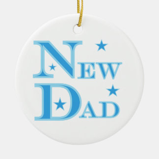 Blue Text New Dad Gifts Ceramic Ornament