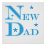 Blue Text New Dad Gifts Poster