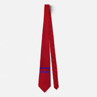 Blue Text On Bright Red Neck Tie